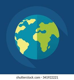 Globe earth icon. Flat style. Vector illustration