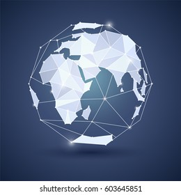 Globe or earth icon on dark blue background. Planet. Triangle polygonal style. JPG include isolated path. eps10