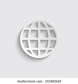 Globe earth icon with shadow on a grey background