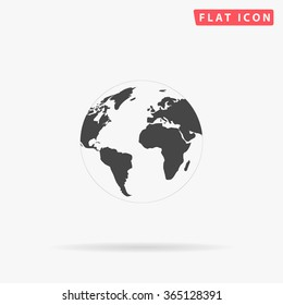 Globe earth Icon Vector. Simple flat symbol. Perfect Black pictogram illustration on white background.