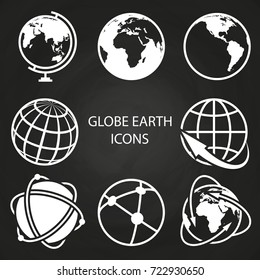 Globe earth icons collection on blackboard. Abstract global sphere, vector illustration