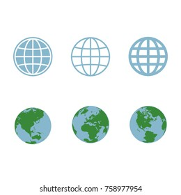 Globe earth icons. Flat style. Vector illustration