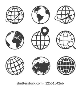 Globe and earth planet black icon set. Spherical rounded object. Vector line art illustration isolated on white background