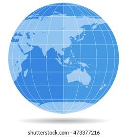 Globe Earth symbol flat icon isolated on white background. Europe, Asia, Africa, Australia, Antarctica, Arctic. Vector illustration