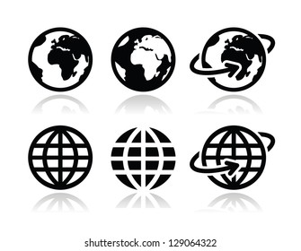 World icon images stock photos vectors shutterstock globe earth vector icons set with reflection publicscrutiny Choice Image