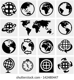 Globe earth vector icons set on gray.