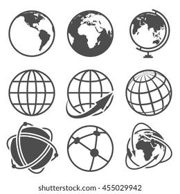 Globe earth vector icons set. Worldwide around globe and internet net on globe earth illustration