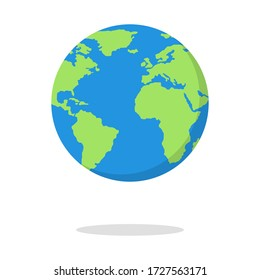 Globe earth vector illustration, world planet in flat style.