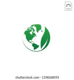 globe, earth, world and leaf logo icon vector illustration