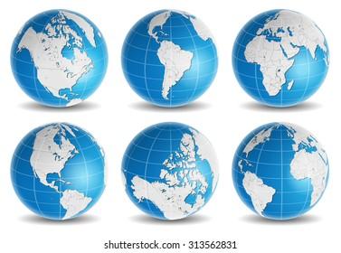 globe earth world map vector set