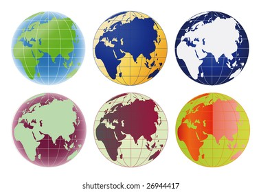 Globe Europe and Asia set of 6 color options