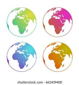 Globe Europe gradients set green, red, blue, orange. Eps10 Vector. Transparent background.