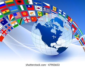 Globe with Flag Banner on Abstract Color Background Original Vector Illustration