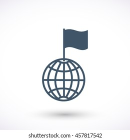 Globe with flag vector icon. Graphic symbol for web design, logo. Isolated sign on a white background.