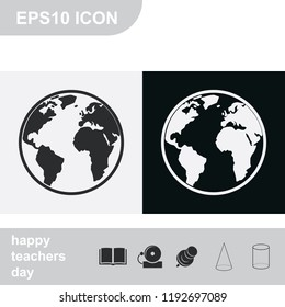 Globe flat black and white vector icon.