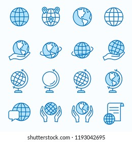 Globe flat line icons. Set of earth, worldwide, geography, global, world, and more. Editable Strokes.