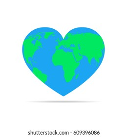 Globe in the form of the heart, isolated on white background. Vector illustration. Heart with earth map.