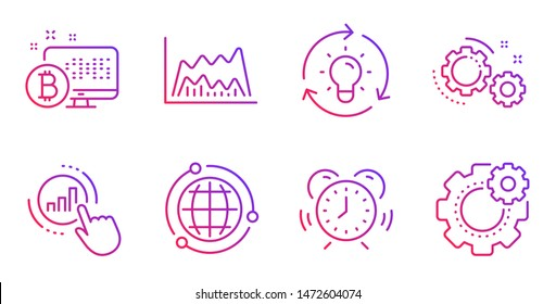 Globe, Gears and Idea line icons set. Graph chart, Bitcoin system and Trade chart signs. Time management, Cogwheel symbols. Internet world, Work process. Science set. Gradient globe icon. Vector
