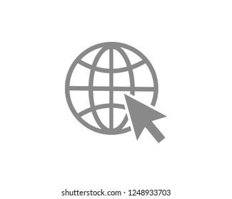 Globe go to web Flat icon. Vector design
