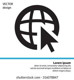 Globe (go to web), web icon. Vector design