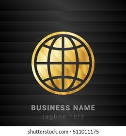 Globe Gold and Black silk fashion premium icon / Logo