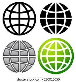 Globe graphics in 4 versions
