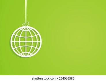 Globe. Green background. Vector illustration.