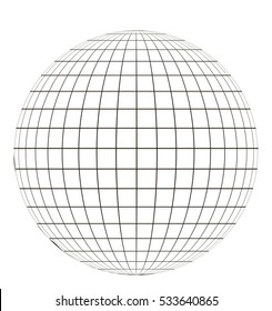 globe with grid. sphere pattern globe angering the application of the coordinate. vector template.