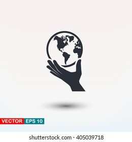 Globe in hand icon