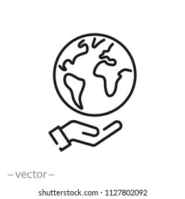 globe with hand linear vector icon, earth line sign isolated on white background - editable  vector illustration eps10