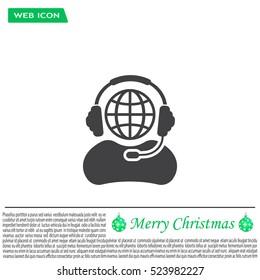 Globe in headphones line icon.