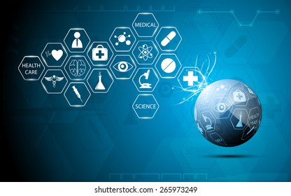 globe health care medical and science icon concept abstract background
