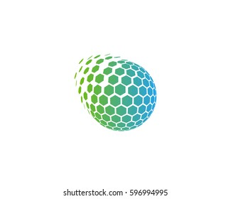Globe Hexagon Sphere Spark Logo Design Element