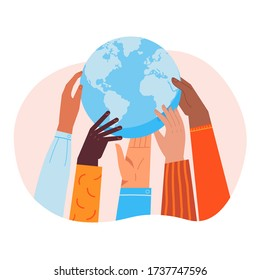 Globe holding by diverse hands. Vector illustration concept for protecting Earth, togetherness, helping ecological projects, partnership in solving global problems