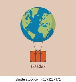globe hot air balloon with travel bag. Vector illustration