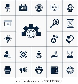 Globe icon business set simple gear vector illustration