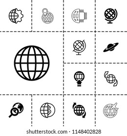 Globe icon. collection of 13 globe filled and outline icons such as clobe gear, planet, plane. editable globe icons for web and mobile.