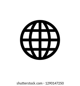 Globe Icon In Flat Style Vector For App, UI, Websites. Black Icon Vector Illustration.