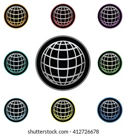 Globe Icon Glass Button Icon Set
