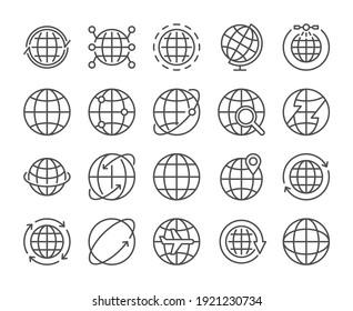 Globe icon. Global communications line icons set. Vector illustration. Editable stroke.