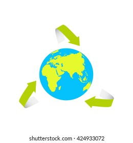 Globe icon with green map of the continents vector illustration. The Earth surrounded by the recycle symbol. Elements of this image furnished by NASA.