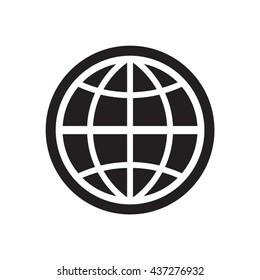 Globe  icon,  isolated. Flat  design.