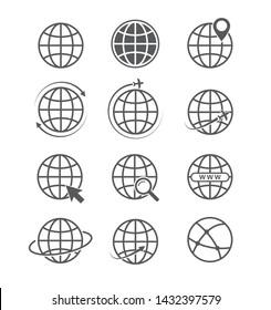 Globe icon set. Airplane flight around the world icon and Website symbol. Vector illustration. on white background