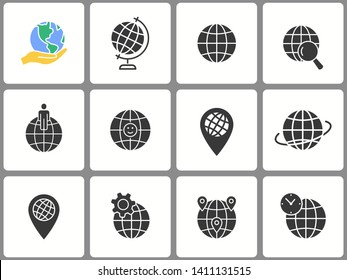 Globe icon set. Black vector illustrations isolated on white. Simple pictograms for graphic and web design.