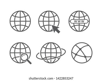 Globe icon set. Vector illustration. on white background