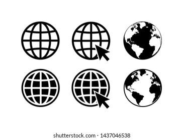 globe icon symbol set, go to web icon vector. website, homepage icon set