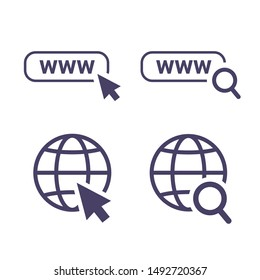 globe icon symbol set, go to web icon vector. website, homepage icon set. Icon url, search and cursor