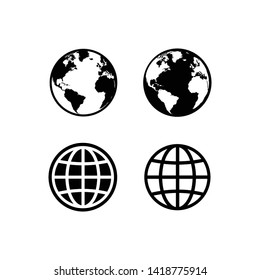 globe icon symbol set, Web icon set vector. website, homepage icon set