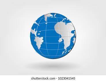 Globe icon vector illustrations blue color. world earth planet with shadow on gray white background