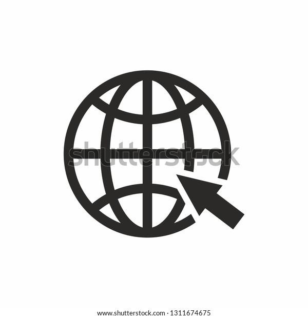 Globe Icon Vector Internet Symbol Stock Vector (Royalty Free